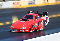 Jul. 26, 2014; Sonoma, CA, USA; NHRA funny car driver Peter Russo during qualifying for the Sonoma Nationals at Sonoma Raceway. Mandatory Credit: Mark J. Rebilas-