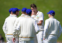Jacob Duffy is mobbed by Volts teammates during day two of the Plunket Shield cricket match between the Wellington Firebirds and Otago Volts at the Basin Reserve in Wellington, New Zealand on Tuesday, 22 October 2019. Photo: Dave Lintott / lintottphoto.co.nz