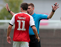 Fleetwood Town's Bobby Grant argues his case with Referee Ollie Yates<br /> <br /> Photographer David Shipman/CameraSport<br /> <br /> The EFL Sky Bet League One - Oxford United v Fleetwood Town - Saturday August 11th 2018 - Kassam Stadium - Oxford<br /> <br /> World Copyright &copy; 2018 CameraSport. All rights reserved. 43 Linden Ave. Countesthorpe. Leicester. England. LE8 5PG - Tel: +44 (0) 116 277 4147 - admin@camerasport.com - www.camerasport.com