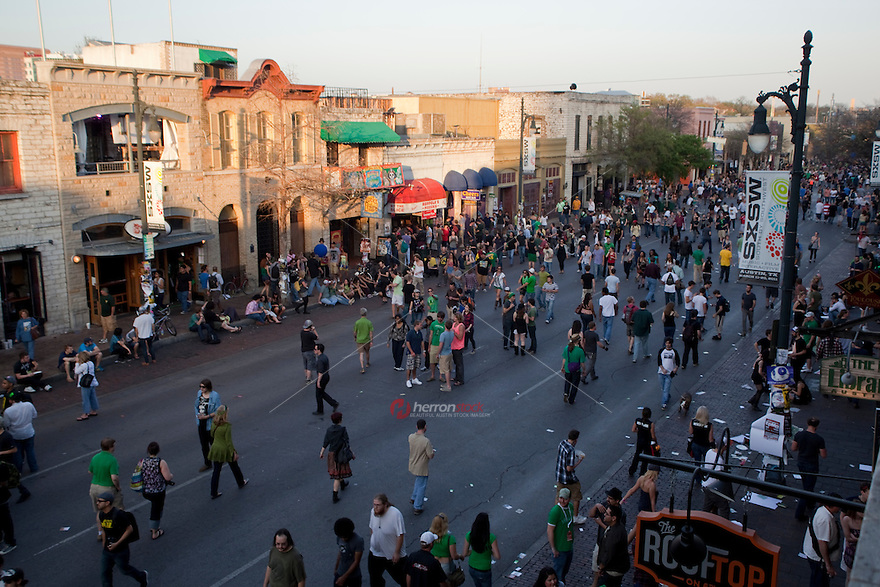 St. Patrick's Day is a popular annual tradition on 6th Street in Austin, Texas