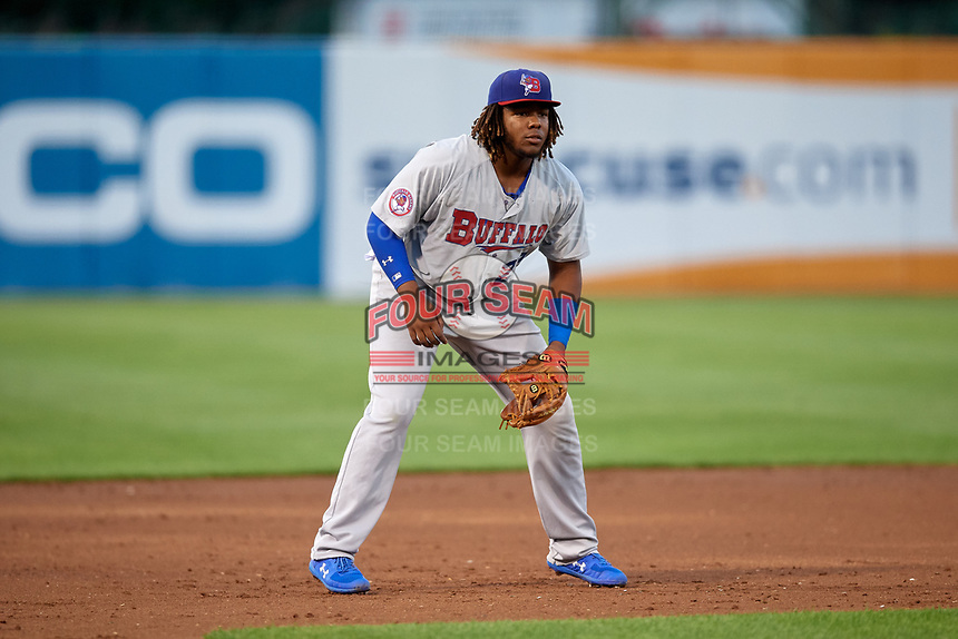 Buffalo Bisons third baseman Vladimir Guerrero Jr. (27) during a game against the Syracuse Chiefs on September 2, 2018 at NBT Bank Stadium in Syracuse, New York.  Syracuse defeated Buffalo 4-3.  (Mike Janes/Four Seam Images)