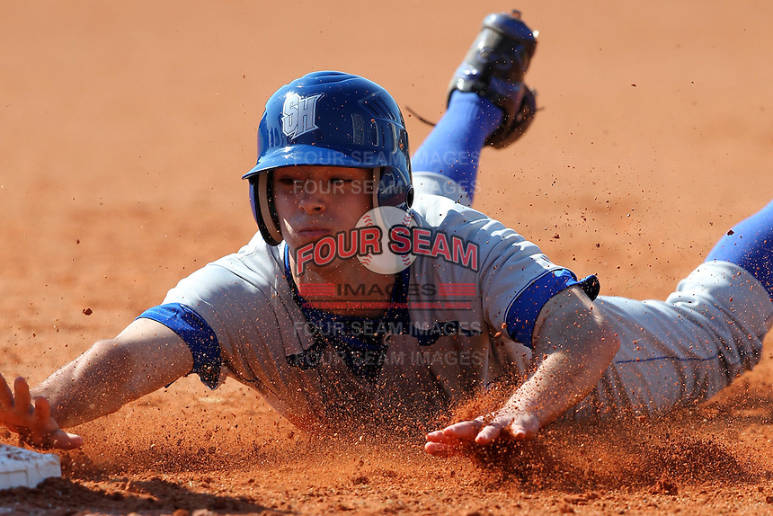 Zach Granite #8 of the Seton Hall Pirates during the Big East-Big Ten Challenge vs. the Michigan State Spartans at Al Lang Field in St. Petersburg, Florida;  February 19, 2011.  Michigan State defeated Seton Hall 5-4.  Photo By Mike Janes/Four Seam Images