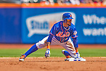 21 April 2013: New York Mets outfielder Jordany Valdespin is safe on second second in the first inning against the Washington Nationals at Citi Field in Flushing, NY. The Mets shut out the visiting Nationals 2-0, taking the rubber match of their 3-game weekend series. Mandatory Credit: Ed Wolfstein Photo *** RAW (NEF) Image File Available ***