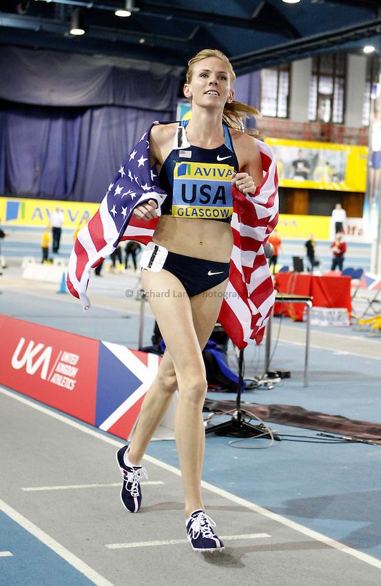 Photo: Richard Lane/Richard Lane Photography. Aviva International Match. 30/01/2010. USA's Heidi Dahl celebrates winning the women's 1500m.