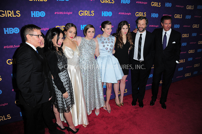 WWW.ACEPIXS.COM<br /> <br /> <br /> January 6, 2014, New York City, NY.<br /> <br /> <br /> Michael Lombardo, Jenni Konner Lena Dunham, Jemima Kirke, Allison Williams, Zosia Mamet, Judd Apatow, and Richard Plepler  arriving at the 'Girls' Season 3 Premiere at Jazz at Lincoln Center on January 6, 2014 in NEw York City, NY.<br /> <br /> <br /> <br /> <br /> By Line:  William Bernard/ACE Pictures<br /> <br /> ACE Pictures, Inc<br /> Tel: 646 769 0430<br /> Email: info@acepixs.com