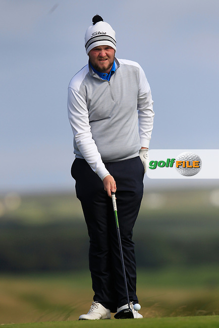 Cian Geraghty (Laytown &amp; Bettystown) on the 2nd tee during Round 2 of the South of Ireland Amateur Open Championship at LaHinch Golf Club on Thursday 23rd July 2015.<br /> Picture:  Golffile | Thos Caffrey