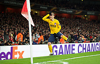 Antoine Griezmann of Atletico Madrid celebrates scoring his goal during the UEFA Europa League Semi Final 1st leg match between Arsenal and Atletico Madrid at the Emirates Stadium, London, England on 26 April 2018. Photo by Andy Aleksiejczuk / PRiME Media Images
