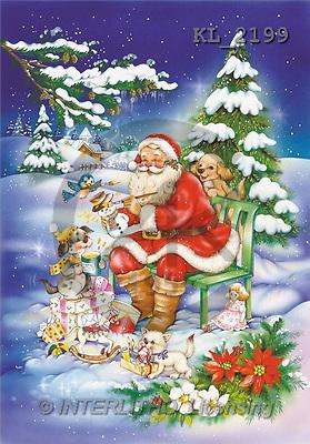 Interlitho, Michele, CHRISTMAS SANTA, SNOWMAN, paintings, santa, bank(KL2199,#X#) Weihnachtsmänner, Schneemänner, Weihnachen, Papá Noel, muñecos de nieve, Navidad, illustrations, pinturas