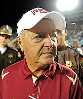 Sept. 19, 2009; Provo, UT, USA; Florida State Seminoles head coach Bobby Bowden following the game against the BYU Cougars at LaVell Edwards Stadium. Florida State defeated BYU 54-28. Mandatory Credit: Mark J. Rebilas-