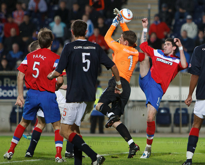 Kyle Lafferty kicks the ball out of the gloves of Michael McGovern