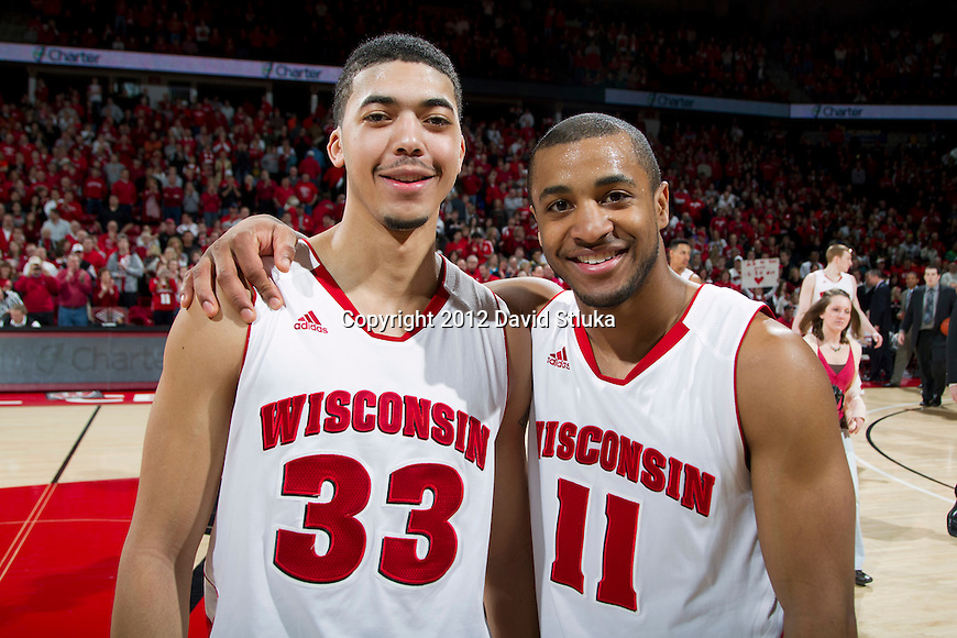 Wisconsin Badgers seniors Rob Wilson (33) and Jordan Taylor (33) after a Big Ten Conference NCAA college basketball game on Senior Day against the Illinois Fighting Illini on Sunday, March 4, 2012 in Madison, Wisconsin. The Badgers won 70-56. (Photo by David Stluka)
