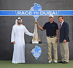 H.H. Sheikh Hamdan Bin Mohammed bin Rashid Al Maktoum, Martin Kaymer and George OGrady at the presentation of the Dubai World Championship on the Earth Course at the Jumeirah Golf Estate, Dubai..Picture Fran Caffrey/www.golffile.ie.