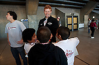 Stanford, CA -- January 28, 2012: Clayton Holz and Tommy Ryan Buddy Day participants during Buddy Day held  Saturday afternoon as part of Stanford vs. Cal Women's Basketball game at Maples Pavilion at Stanford.<br /> <br /> Stanford defeat Cal 74-71 in overtime.