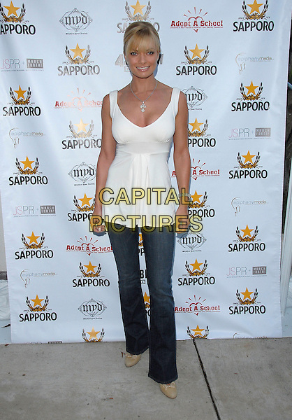 "JAIME PRESSLEY.attends the Launch of her ""Adopt-a-School Initiave"" held at RJ Cutler's Estate in The Hollywood Hills, California, USA, August 12, 2006..full length white top jamie jeans.ref: DVS.www.capitalpictures.com.sales@capitalpictures.com.©Debbie VanStory/Capital Pictures"