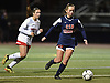 Grace Hudson #20 of Cold Spring Harbor, right, maneuvers for a shot moments before scoring the opening goal in the first half of the Nassau County varsity girls soccer Class B final against Wheatley at Bethpage High School on Monday, Oct. 29, 2018.
