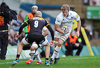 Jamie Gibson faces off against Joe Simpson. Aviva Premiership match, between London Wasps and Leicester Tigers on October 27, 2013 at Adams Park in High Wycombe, England. Photo by: Patrick Khachfe / JMP
