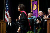 First Lady Michelle Obama receives applause following her commencement address to the 2011 graduating class at the University of Northern Iowa in Cedar Falls, Iowa, May 7, 2011. .Mandatory Credit: Lawrence Jackson - White House via CNP