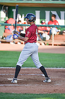 Marten Gasparini (4) of the Idaho Falls Chukars at bat against the Ogden Raptors in Pioneer League action at Lindquist Field on June 22, 2015 in Ogden, Utah. The Chukars defeated the Raptors 4-3 in 11 innings. (Stephen Smith/Four Seam Images)
