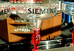 Siemens margarita glasses at the comapany's Cinco de Mayo themed reception at the West Club in Reliant Stadium Wednesday May 2,2012. (Dave Rossman Photo)
