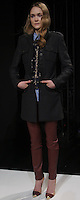 """KAITLIN (MAJOR)- charcoal military coat, blue pinstripe blouse, navy/antique gold handed blouse, burgundy leather moto pants, nude multi pump with gold toe cap"", Mercedes Benz Fashion Week, Marissa Webb fall/holiday 13, NYC, Feburary 09 2013"