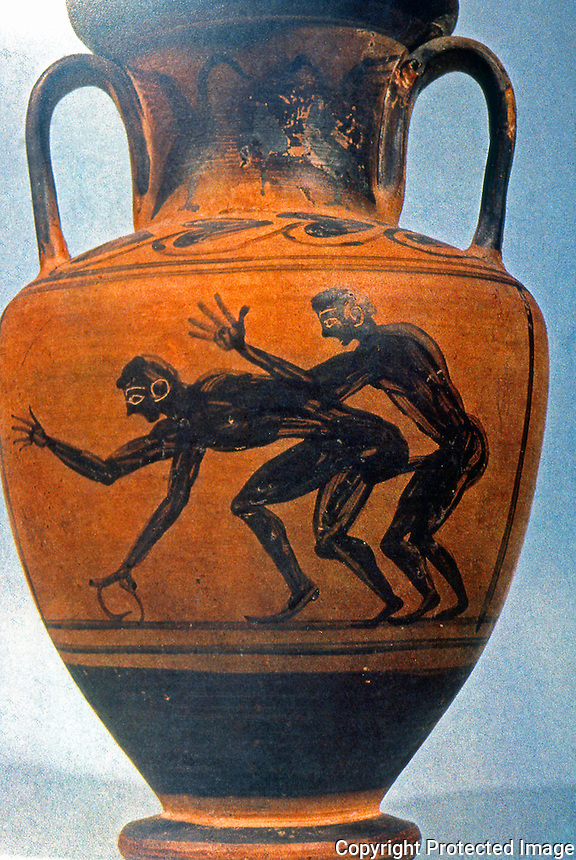 Ancient Erotica:  Homosexuals--Etruscan Vase.  Photo '84.