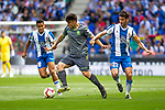 Real Sociedad's Hector Moreno and RCD Espanyol's Roberto Rosales, Esteban Granero (R) during La Liga match. May, 18th,2019. (ALTERPHOTOS/Alconada)