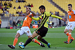 Wellington Phoenix&rsquo; Andrija Kaluderovic and Brisbane&rsquo;s Jacob Pepper in action during the A League - Wellington Phoenix v Brisbane Roar FC at Westpac Stadium, Wellington, New Zealand on Sunday 25 March 2018.<br /> Photo by Masanori Udagawa. <br /> www.photowellington.photoshelter.com