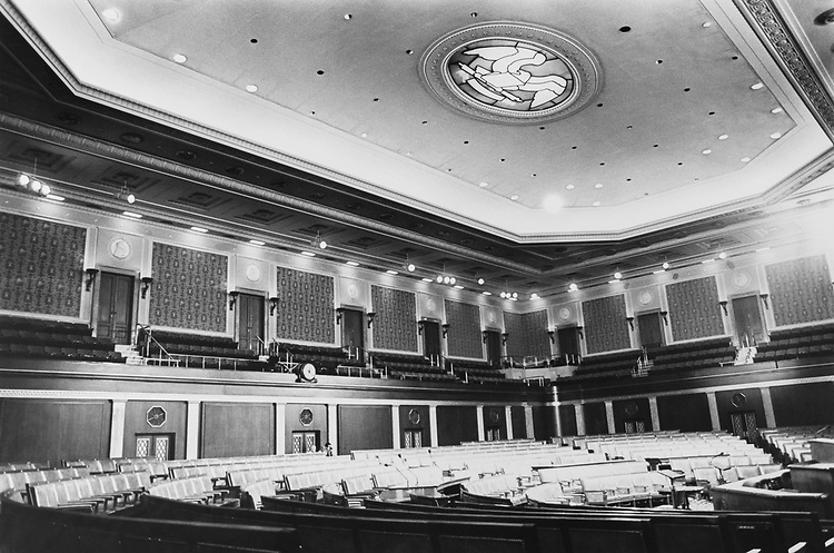 Interior of House Chamber in October 1992. (Photo by Maureen Keating/CQ Roll Call via Getty Images)