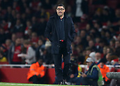 2nd November 2017, Emirates Stadium, London, England; UEFA Europa League group stage, Arsenal versus Red Star Belgrade; Red Star Belgrade Manager Vladan Milojevic looks on from the touchline