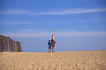 AJDMB3 Father and family Walberswick beach Suffolk England