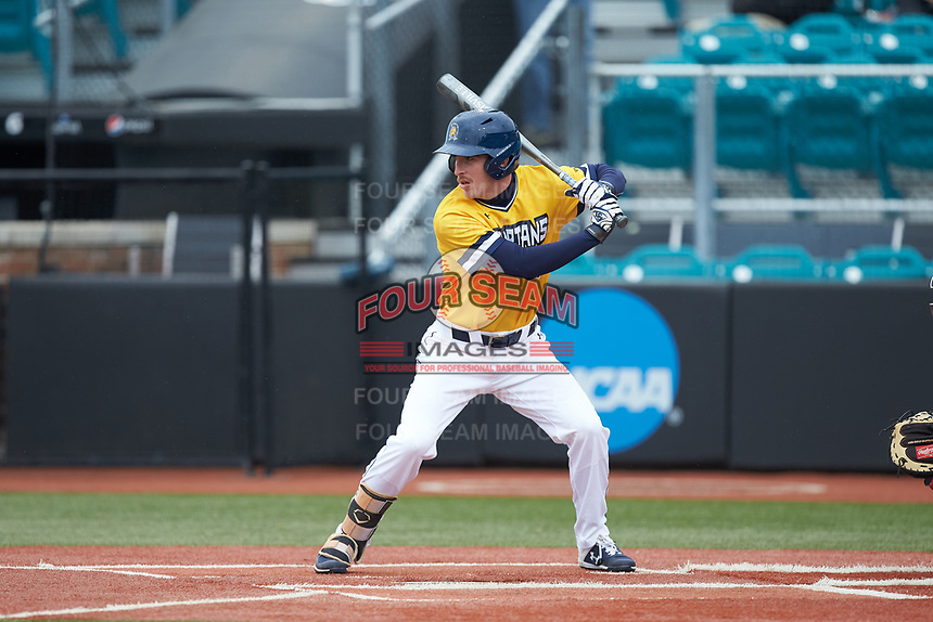 Greg Hardison (21) of the UNCG Spartans at bat against the San Diego State Aztecs at Springs Brooks Stadium on February 16, 2020 in Conway, South Carolina. The Spartans defeated the Aztecs 11-4.  (Brian Westerholt/Four Seam Images)