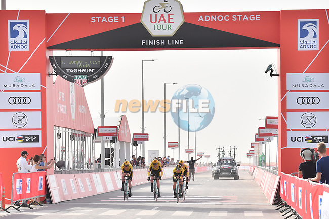Team Jumbo-Visma approach the finish line of Stage 1 of the 2019 UAE Tour, a team time trial running 16km around Al Hudayriat Island, Abu Dhabi, United Arab Emirates. 24th February 2019.<br /> Picture: LaPresse/Massimo Paolone | Cyclefile<br /> <br /> <br /> All photos usage must carry mandatory copyright credit (© Cyclefile | LaPresse/Massimo Paolone)