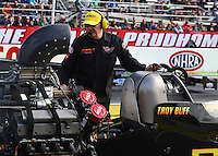 Feb 7, 2014; Pomona, CA, USA; The crew chief for NHRA top fuel dragster driver Troy Buff during qualifying for the Winternationals at Auto Club Raceway at Pomona. Mandatory Credit: Mark J. Rebilas-