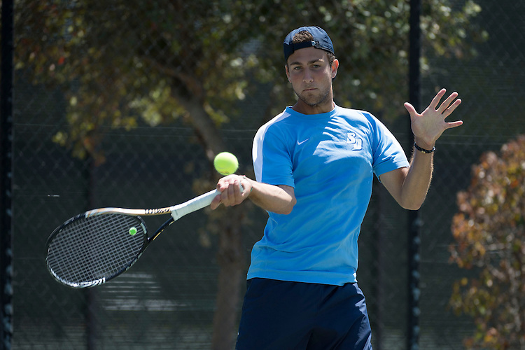April 25, 2013; San Diego, CA, USA; San Diego Toreros player Victor Pugliese during the WCC Tennis Championships at Barnes Tennis Center.