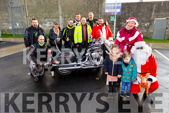 Members of the Kerry Vintage Bike club about to take to the Kerry roads, on the annual motorcycle charity fundraiser for Eagle Lodge. <br /> Front l to r: Santa Claus, Katie Mrs Claus, Saoirse and Darragh Gentle.<br /> Back l to r: Johnny Downey, John Foley, Michelle Byrne, Dominic Viliga, Connie O'Connor, Ivan Godley, Maurice Costello and Tom Dowling.