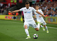 Gylfi Sigurdsson of Swansea City crosses the ball during the Premier League match between Swansea City and Everton at The Liberty Stadium, Swansea, Wales, UK. Saturday 06 May 2017