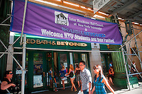 Bed Bath and Beyond in New York welcomes New York University students to their store to shop to furnish their dorm rooms on Saturday, August 28, 202010. NYU provides buses and assistance to the students as they are sheparded back and forth from the store to the various dorms. (© Richard B. levine)