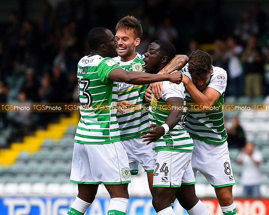 Olufela Olomola of Yeovil Town (24) celebrates after scoring his first goal during Yeovil Town vs Accrington Stanley, Sky Bet EFL League 2 Football at Huish Park on 12th August 2017