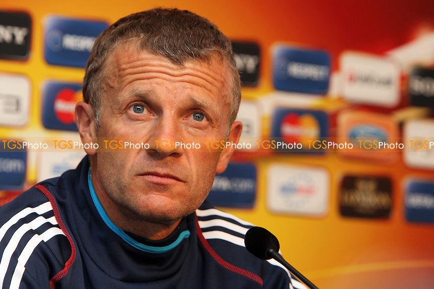 Olympique Lyonnais coach Patrice Lair attends a press conference ahead of the UEFA Women's Champions League Final at Fulham FC - 25/05/11 - MANDATORY CREDIT: Gavin Ellis/TGSPHOTO - Self billing applies where appropriate - Tel: 0845 094 6026