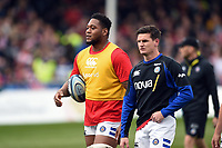 Levi Douglas of Bath Rugby looks on during the pre-match warm-up. Gallagher Premiership match, between Gloucester Rugby and Bath Rugby on April 13, 2019 at Kingsholm Stadium in Gloucester, England. Photo by: Patrick Khachfe / Onside Images