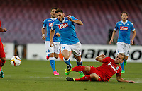 Brugge's Laurens De Bock  challenges Napoli's David Lopez  during the Europa  League Group D soccer match against   at the San Paolo  Stadium in Naples September 17, 2015
