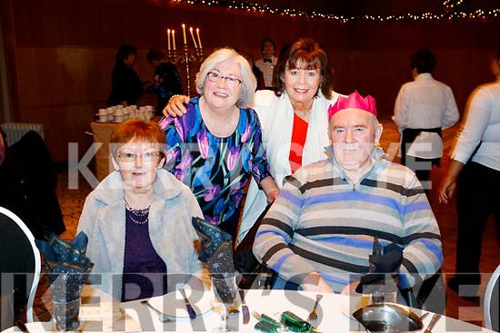 Mary Twomey, Josephine Sheehan, Phil Sexton and TJ Hannon, enjoying the Abbeydorney/Kilfynn Senior Citizens Christmas Party at Ballyroe Heights, Tralee, on Sunday last.