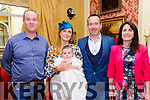 Baby Eanin May Carmody with her parents Deirdre O'Driscoll & Stephen Carmody, Tarbert and her god parents Conor Carmody & Siobhan Looney who was christened in Tarbert Church by Fr. Kevin McNamara on Sunday last and afterwards at the Listowel Arms Hotel.