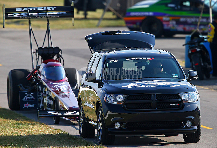 Aug. 30, 2013; Clermont, IN, USA: NHRA top fuel dragster driver Spencer Massey during qualifying for the US Nationals at Lucas Oil Raceway. Mandatory Credit: Mark J. Rebilas-