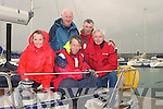 HAPPY: Happy to be back on dry land after their race in the WAOIRA on Friday were the crew of Navillus 11 The crew Brian O'Sullivan, Celestine Loughran, John O'Sullivan, Vincent McCarthy and Lorraine Scroope (missing was Francis Clifford).......