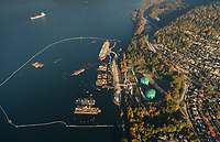 Burnaby residential area, Kinder Morgan Westridge Marine Tanker Terminal, Oil Tanker, and Burrard Inlet.