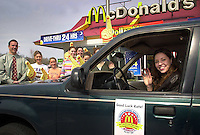 Kate Dessart-Mager, right, waves to family and friends as she leaves to play in the inaugural McDonald's All American Girls Basketball Game, Saturday, March 30, 2002 in Drexel Hill, Pennsylvania. McDonald's of Drexel Hill hosted a send-off breakfast for Dessart-Mager, her family, and friends to wish her well  as she departs for the game, to be played April 4th, at Madison Square Garden in New York City. Dessart-Mager is the only player from the Philadelphia region selected to play in the All Amreican game. (Photo by William Thomas Cain/photodx.com)