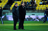 All Blacks coaches Ian Foster (left) and Steve Hansen during the Steinlager Series international rugby match between the New Zealand All Blacks and France at Westpac Stadium in Wellington, New Zealand on Saturday, 16 June 2018. Photo: Dave Lintott / lintottphoto.co.nz