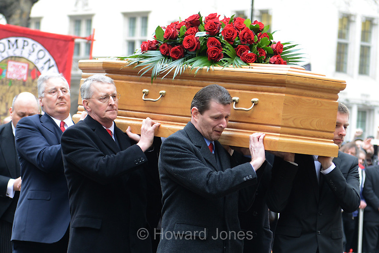 Mourners and politicians gathered to pay their last respects to the veteran Labour member of parliament who died on 14th March 2014 at the age of 88.