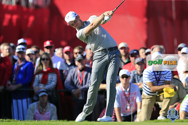 Danny Willett (ENG) Team Europe tees off the 11th tee during Saturday Afternoon Fourball Matches of the 41st Ryder Cup, held at Hazeltine National Golf Club, Chaska, Minnesota, USA. 1st October 2016.<br /> Picture: Eoin Clarke | Golffile<br /> <br /> <br /> All photos usage must carry mandatory copyright credit (&copy; Golffile | Eoin Clarke)